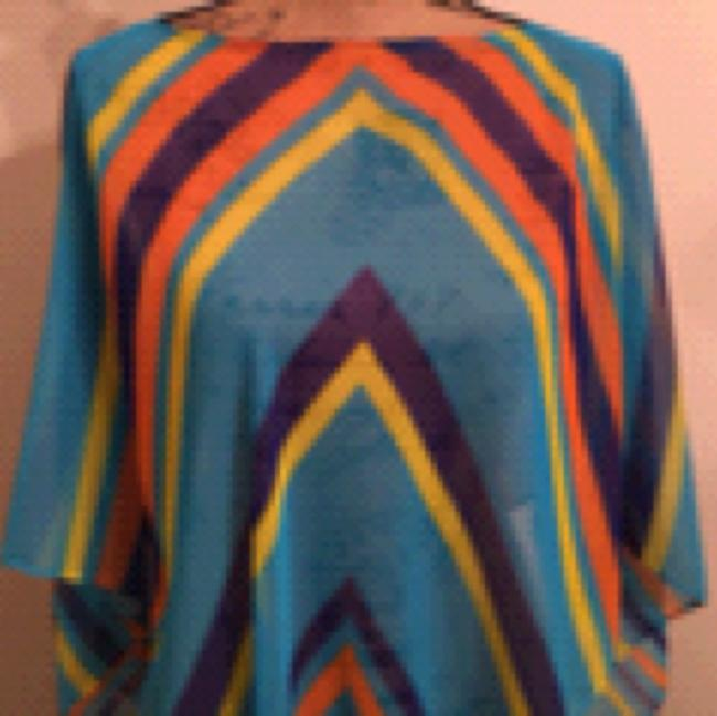 Poncho Spring/ Summer Sheer Multi colored Striped Poncho Top Multi Turqoise Purple Orange Yellow Image 1