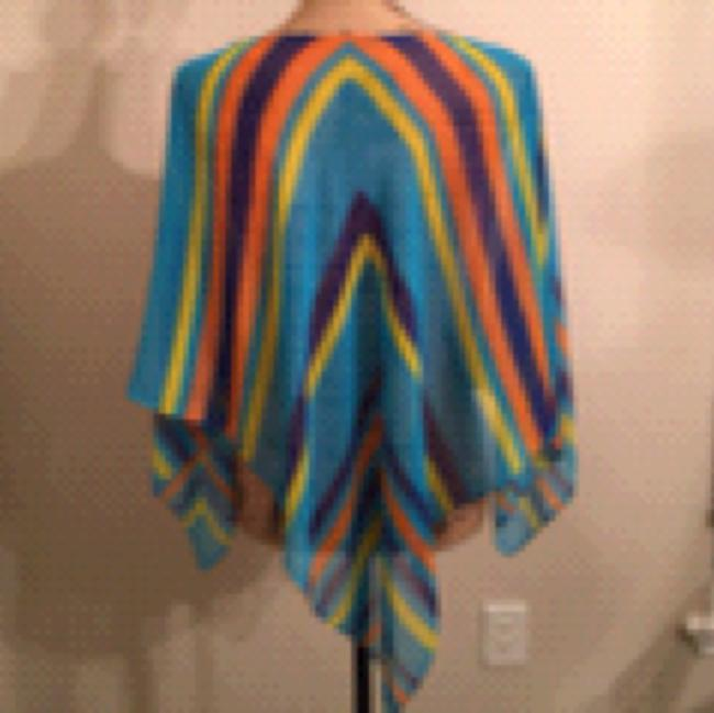 Poncho Spring/ Summer Sheer Multi colored Striped Poncho Top Multi Turqoise Purple Orange Yellow Image 2