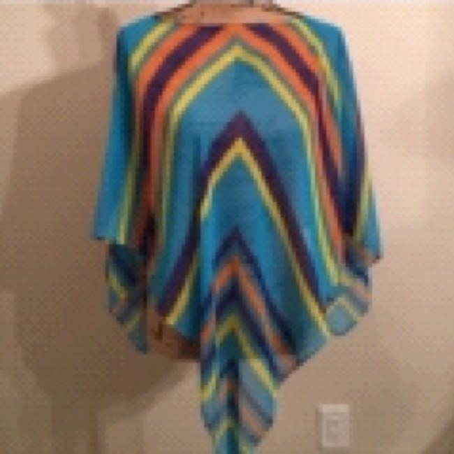 Poncho Spring/ Summer Sheer Multi colored Striped Poncho Top Multi Turqoise Purple Orange Yellow Image 3