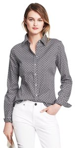Banana Republic Heart Print Button Down Shirt Black and White