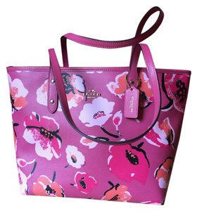 Coach Zip Top Floral Tote in Pink Floral