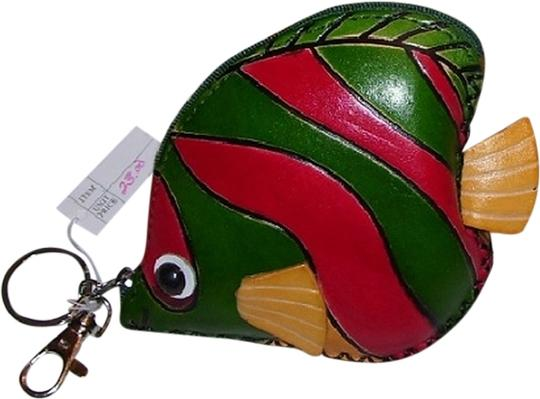 Unknown Green and Red Striped Fish Coin Purse with Key Fob