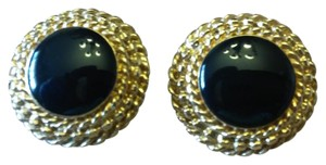 St. John Black enamel clip on earrings