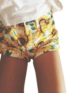 American Apparel Cuffed Shorts Sunflower Print Yellow White