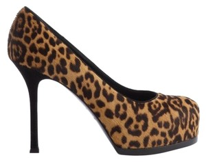 Saint Laurent Ysl Tribtoo Tribute Leopard Brown Black Pumps