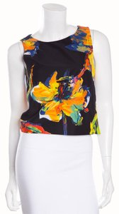 MILLY Top Black & Multicolor Floral Print