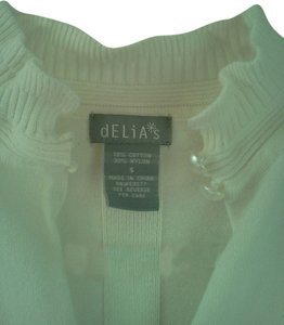 dELiA's Ruffle Sleeve Button At Neck Sweater