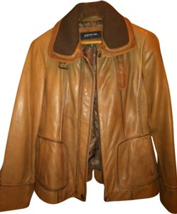 Jones New York Tan Leather Jacket