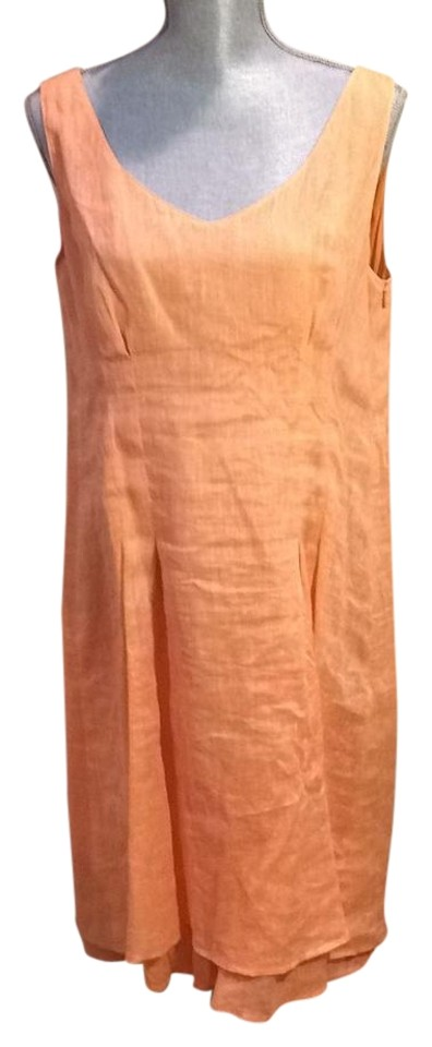e871cbf42a Georges Rech Peach Linen Casual Maxi Dress. Size  12 (L) Length  Knee ...