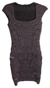 RVN Embroidered Jacquard Purple Dress