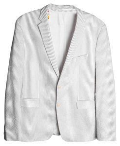 Hugo Boss White/light Gray Thin Stripe Mens White/gray Blazer