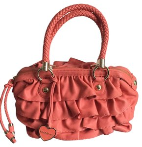 bebe Ruffles Braided Charms Satchel in Peachy/Coral