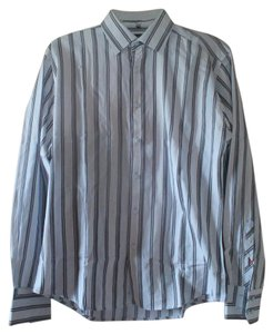 Ben Sherman Mens Shirt Mens Striped Shirt Striped Long Sleeve Button Down Shirt Blue
