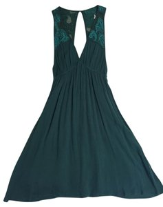 Ecote short dress Teal Embroidered Keyhole Sleeveless V-neck Empire Waist on Tradesy