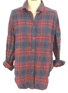 Free People Button Down Shirt Red plaid