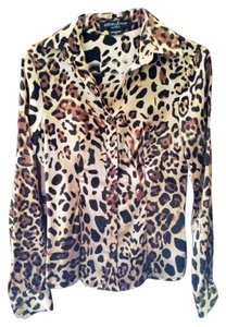 Guess By Marciano Animal Print Silk Top
