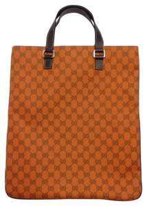 Gucci Shopper Canvas Gg Tote in Orange / Brown