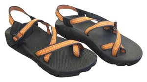 Chaco Like New Vibram Sole Orange and navy Sandals