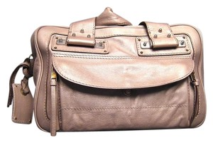 Chloé Tracy Metallic Leather Satchel in Tan