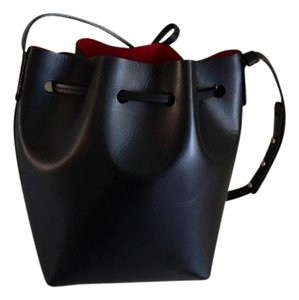 Mansur Gavriel Bucket Black And Red Leather Shoulder Bag