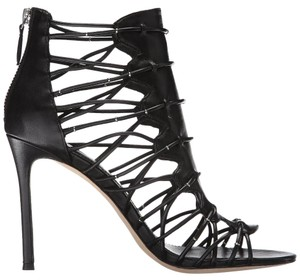 Pour La Victoire Leather Open Toe Stiletto Black Sandals