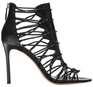 Pour La Victoire Leather Open Toe Stiletto Strappy Zipper Black Sandals