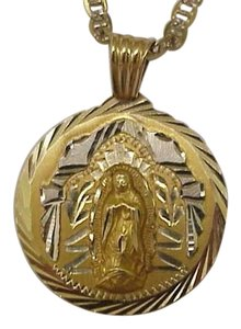 Estate Vintage 14k Solid Yellow and White Gold Ornate Mary Face Pendant ,early 1900s