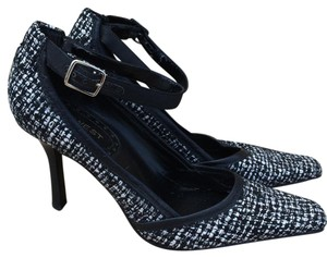 Nine West Tweed Ankle Strap Heels Black and White Pumps