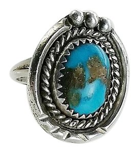 Native American Bisbee Turquoise Stone Ring Size 6.75