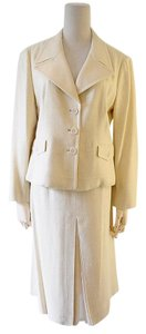 Prada Cream linen cotton jacket skirt suit