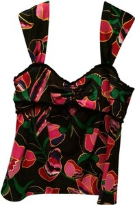 Marc Jacobs Top Black With Pink, Yellow, Green And Red Designs