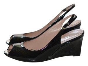 Stuart Weitzman Patent Leather Slingback Wedge Black Pumps