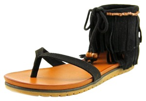MIA Boho Festival Hippie Rocker Black Sandals