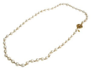 Chanel Chanel Vintage Pearl Sautoir CC Coin Charm Medallion Long Drape Necklace
