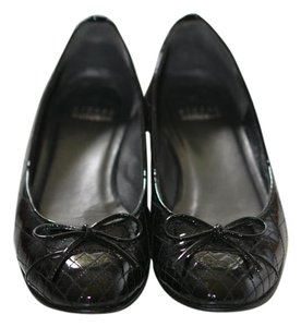 Stuart Weitzman Embossed Leather Patent Ballet Bow black Flats