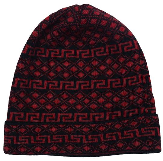 Versace Versace Red/Black Knitted Beanie Wool Hat