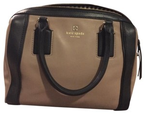 Kate Spade Leather Satchel in Black and Tan