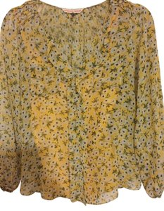 Rebecca Taylor Floral Floral Sheer Silk Top Yellow