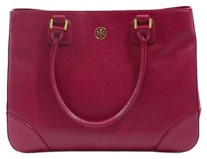 Tory Burch Robinson Leather Tote in Raspberry