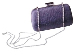 Louis Vuitton Hardware Dark grey/ blue with Silver Chrome Clutch