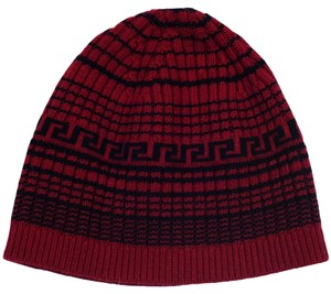 Versace Versace Red Knitted Beanie Wool/Cashmere Blend Hat