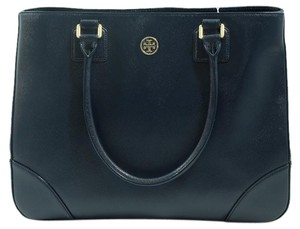 Tory Burch Robinson Leather Tote in Hudson Bay (Navy Blue)