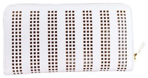 Tory Burch Tory Burch Off White Perforated Leather Continental Wallet
