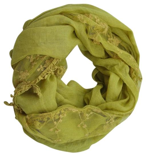 Unknown Vintage Inspired Lace Yellow Infinity Loop Scarf