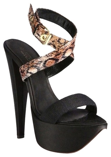 Giambattista Valli Christian Louboutin Ysl Fendi Prada Saint Laurent Giuseppe Zanotti Casadei Sophia Webster Chanel Versace Louis Vuitton Black Python Linen Satin Platform Sandals Platforms