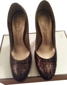 Jessica Simpson Bronze Snakeskin Pumps
