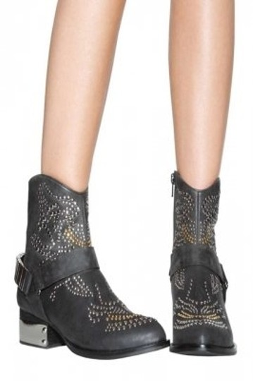 Jeffrey Campbell Studded Leather Ankle Metal Black Boots