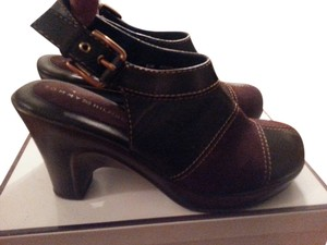 Tommy Hilfiger Brown Leather & Suede Mules
