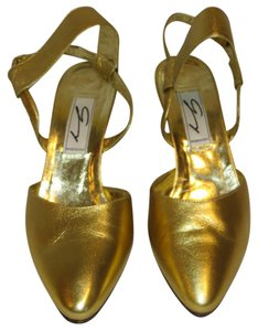 Genny Leather Metallic Slingback Made In Italy Gold Pumps