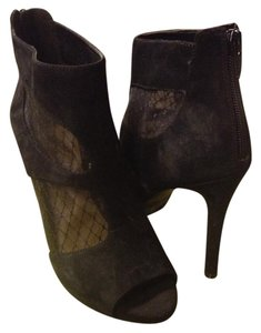Gianni Bini Bootie Mesh Suede Cut-out Black Boots